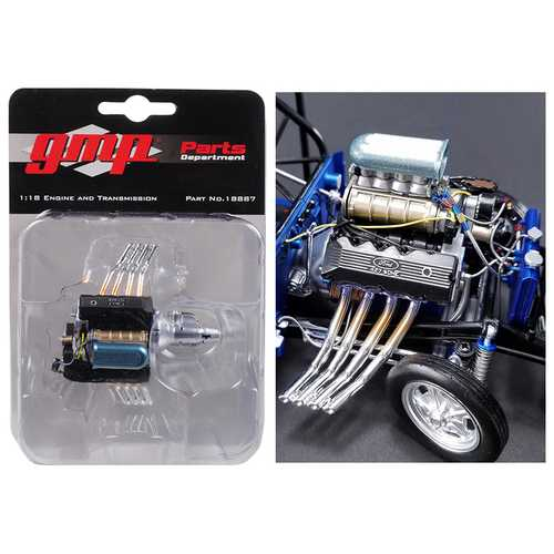 Engine and Transmission Replica 427 Blown SOHC Gasser Ohio George's 1967 Ford Mustang 1/18 by GMP