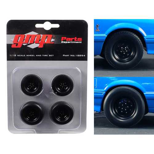 "Wheels and Tires Set of 4 from 1993 Ford Mustang Cobra 1320 Drag Kings ""King Snake"" 1/18 by GMP"