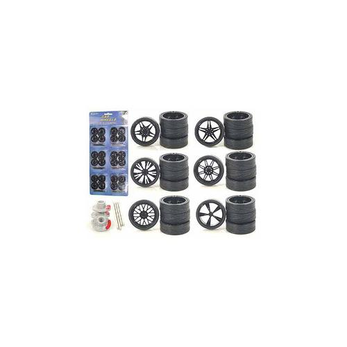 Custom Wheels for 1/24 Scale Cars and Trucks 24pc Wheels & Tires Set