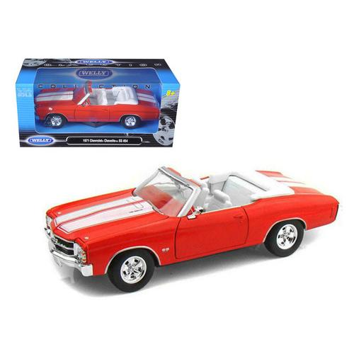 1971 Chevrolet Chevelle SS 454 Convertible Orange 1/24 Diecast Model Car by Welly