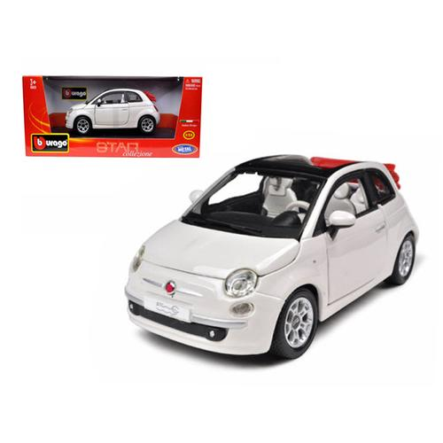 2009 Fiat 500 C Cabriolet White 1/24 Diecast Model Car by Bburago