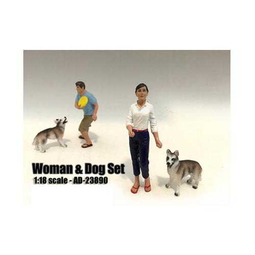 Woman and Dog 2 Piece Figure Set For 1:18 Scale Models by American Diorama