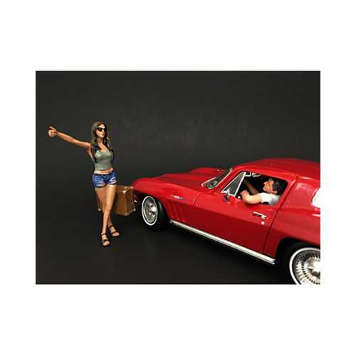 Hitchhiker 2 Piece Figure Set For 1:18 Scale Diecast Model Cars by American Diorama