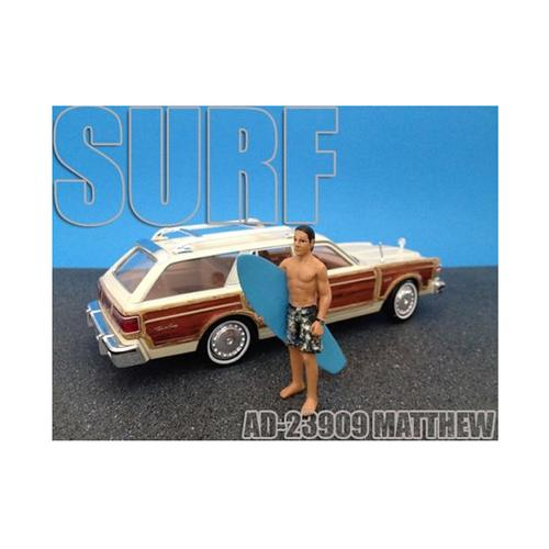 Surfer Matthew Figure For 1:24 Diecast Model Cars by American Diorama