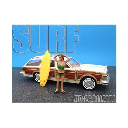 Surfer Jodi Figure For 1:24 Diecast Model Cars by American Diorama