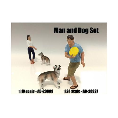 Man and Dog 2 Piece Figure Set For 1:24 Scale Models by American Diorama