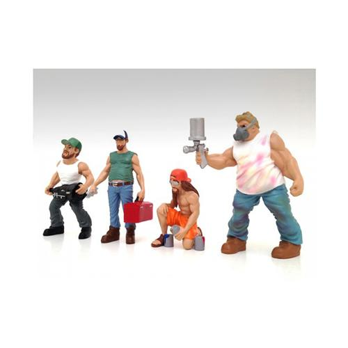 Series 2 Musclemen Figure Set of 4pc For 1:24 Scale Models Custom Van Go, Tool Box Guy, Trucker Troy, Striper by American Diorama