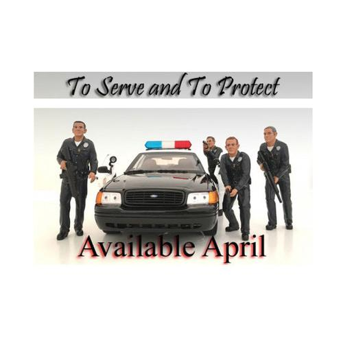 Police Officers 4 Piece Figure Set For 1:24 Scale Models by American Diorama