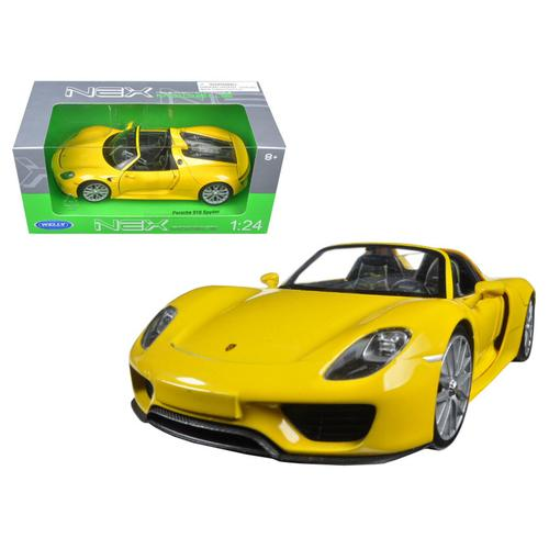 Porsche 918 Spyder Yellow Open Roof 1/24 Diecast Model Car by Welly