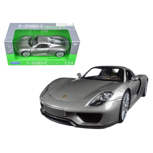 Porsche 918 Spyder Silver Closed Roof 1/24 Diecast Model Car by Welly