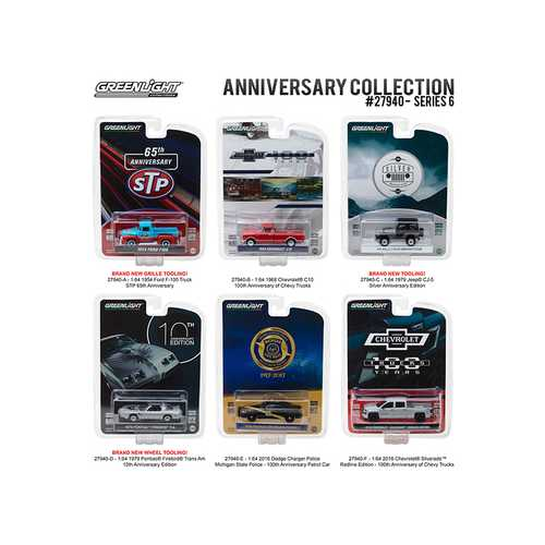 Greenlight Anniversary Collection Series 6, 6pc Diecast Car Set 1/64 Diecast Model Cars by Greenlight