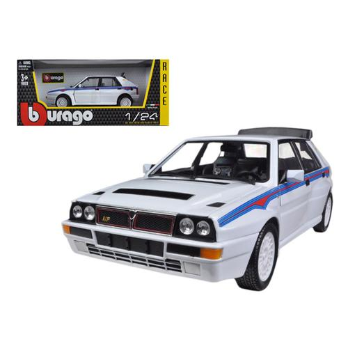 Lancia Delta Integrale HF White With Martini Stripes 1/24 Diecast Car Model by Bburago