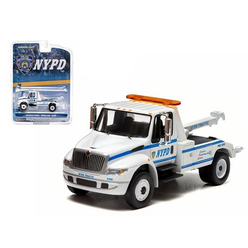 2013 International Durastar 4400 NYPD Tow Truck White 1/64 Diecast Model by Greenlight