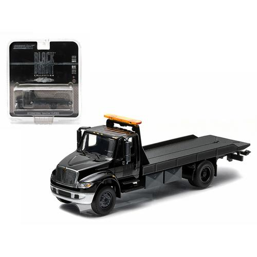 2014 International Durastar 4400 Flatbed Tow Truck Black Bandit 1/64 by Greenlight