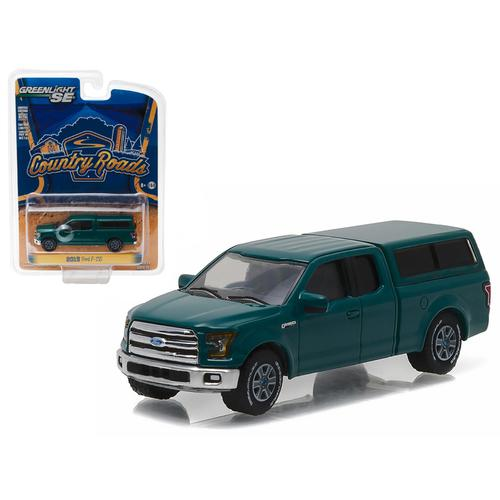 "2015 Ford F-150 with Camper Shell Green Gem ""Country Roads"" Series 15 1/64 Diecast Model Car  by Greenlight"