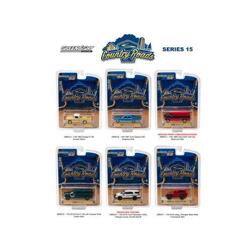 Country Roads / Release 15, 6pc Diecast Car Set 1/64 Diecast Model Cars by Greenlight