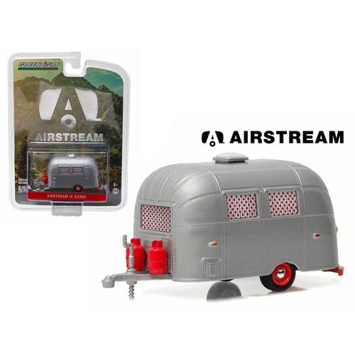 Airstream Bambi Sport 16' Trailer Silver with Red Accents and Curtains Hobby Exclusive 1/64 Diecast Model by Greenlight