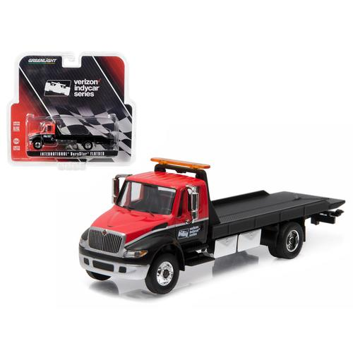 2016 International Durastar 4400 Verizon Indy Car Series Flatbed Tow Truck Red and Black 1/64 Diecast Model by Greenlight
