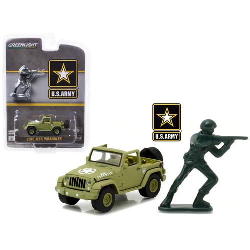 2016 Jeep Wrangler U.S. Army with U.S. Army Soldier Figure 1/64 Diecast Model Car by Greenlight