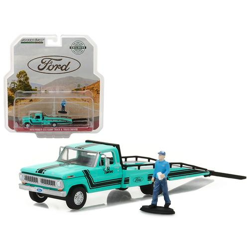 1970 Ford F-350 Ramp Truck with Truck Driver Figure Hobby Exclusive 1/64 Diecast Model Car by Greenlight