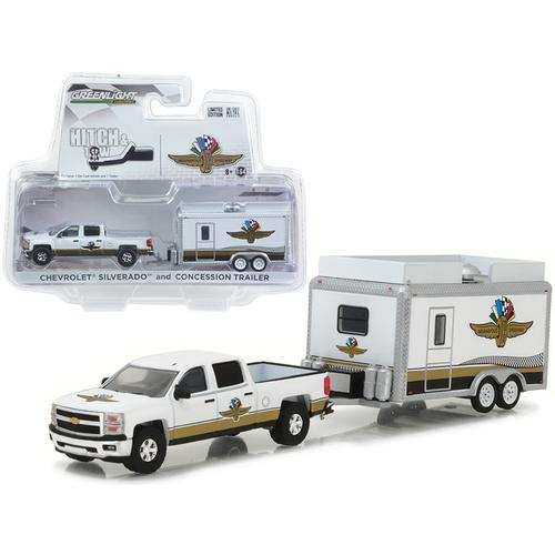 Chevrolet Silverado and Indianapolis Motor Speedway (IMS) Concession Trailer Hitch & Tow 1/64 Diecast Model Cars by Greenlight