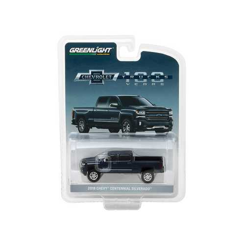 2018 Chevrolet Silverado Centennial Edition Metallic Blue Hobby Exclusive 1/64 Diecast Model Car by Greenlight