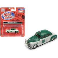 1950 Dodge Police Car White and Green 1/87 (HO) Scale Model Car by Classic Metal Works