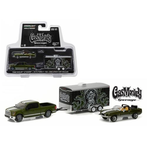 "2015 Ford F-150 Green and 1968 Shelby GT500KR Convertible Green with Enclosed Car Hauler ""Gas Monkey Garage"" (2012-Current TV Series) 1/64 Diecast Model Cars by Greenlight"