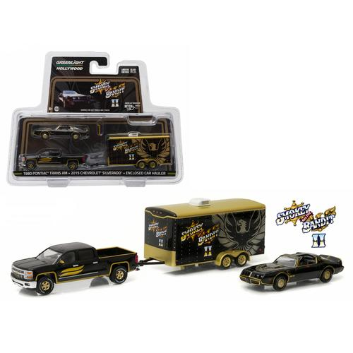 "2015 Chevrolet Silverado and 1980 Pontiac Trans Am with Enclosed Car Hauler ""Smokey & The Bandit II"" (1980) 1/64 Diecast Model Car  by Greenlight"