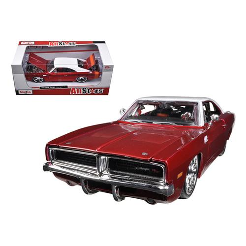 1969 Dodge Charger R/T Burgundy/White 1/25 Diecast Car Model by Maisto