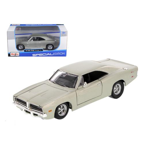 1969 Dodge Charger R/T Hemi Silver 1/25 Diecast Car Model by Maisto