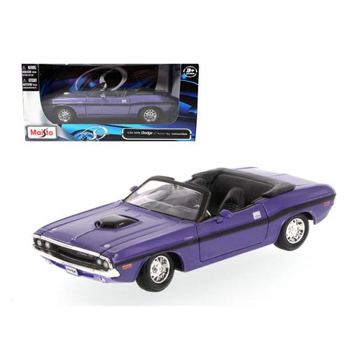 1970 Dodge Challenger R/T Convertible Purple 1/24 Diecast Model Car by Maisto