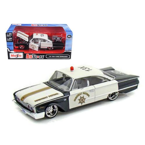 "1960 Ford Starliner Highway Patrol ""All Stars"" 1/26 Diecast Model Car by Maisto"