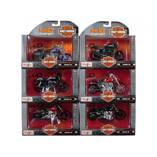 Harley Davidson Motorcycle 6pc Set Series 35 1/18 Diecast Models by Maisto