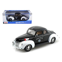 1939 Ford Deluxe Police 1/18 Diecast Model Car by Maisto