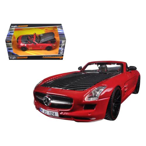 "Mercedes SLS AMG Red/Black Carbon Fiber Hood ""Exotics"" 1/24 Diecast Model Car by Maisto"