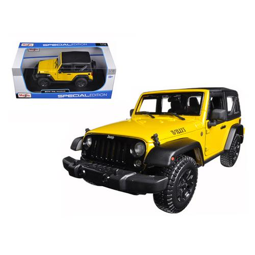 2014 Jeep Wrangler Willys Yellow 1/18 Diecast Model Car by Maisto