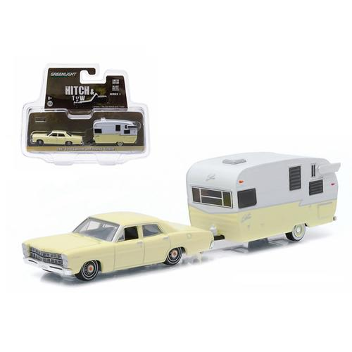 1967 Ford Custom Yellow and Shasta 15ft Airflyte 1/64 Diecast Model Car by Greenlight