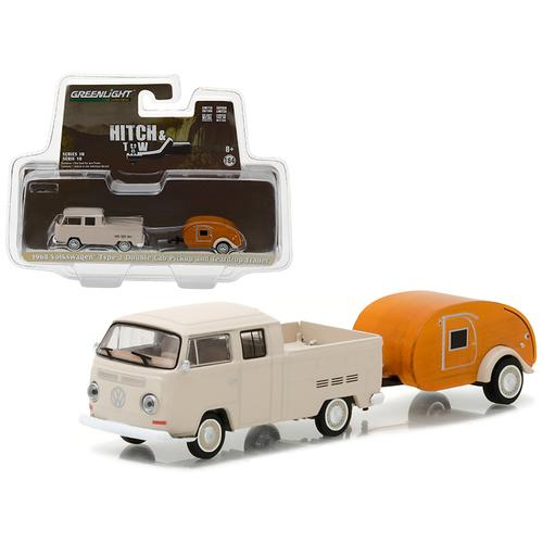 1968 Volkswagen Type 2 Double Cab Pickup and Teardrop Trailer Hitch & Tow Series 10 1/64 Diecast Model Car  by Greenlight