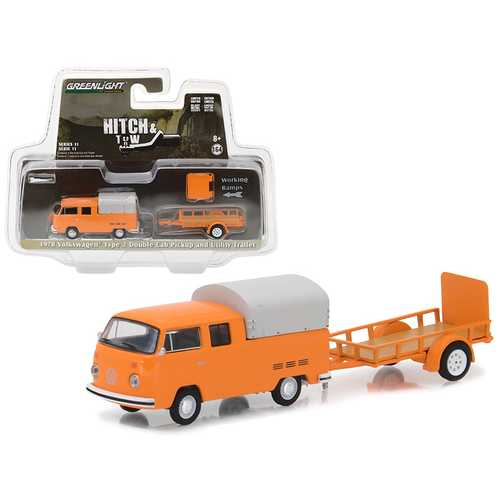 1978 Volkswagen Type 2 Double Cab Orange with Utility Trailer Hitch & Tow Series 11 1/64 Diecast Car Model by Greenlight