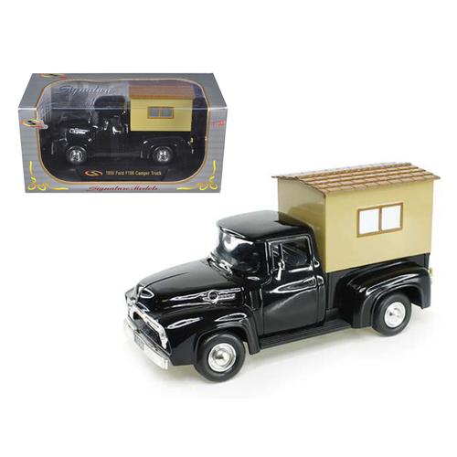 1956 Ford F-100 Pickup Truck Black with Camper 1/32 Diecast Model Car by Signature Models