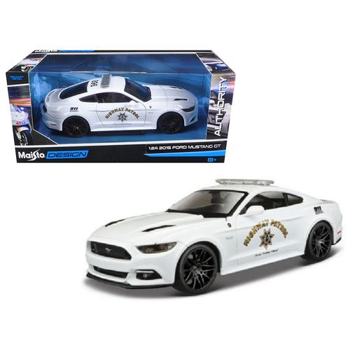 2015 Ford Mustang GT 5.0 Highway Patrol Police Car White 1/24 Diecast Model Car by Maisto
