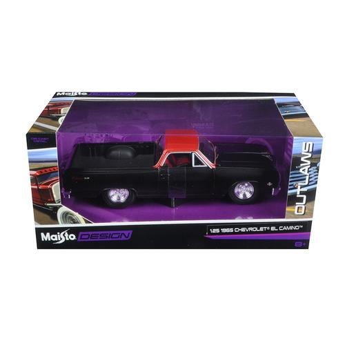 "1965 Chevrolet El Camino Matt Black ""Outlaws"" 1/25 Diecast Model Car by Maisto"