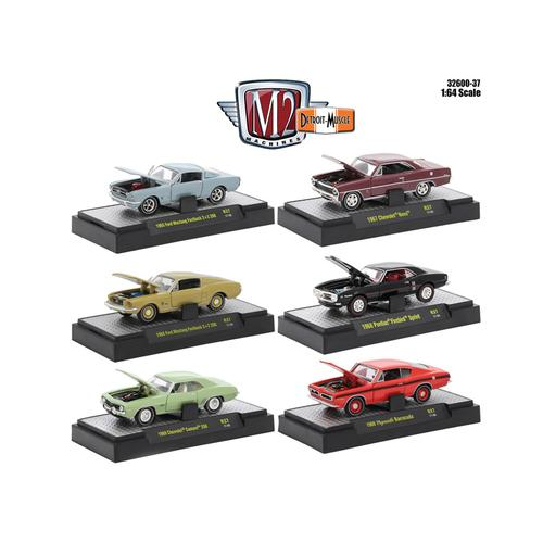 Detroit Muscle 6 Cars Set Release 37 IN DISPLAY CASES 1/64 Diecast Model Cars by M2 Machines