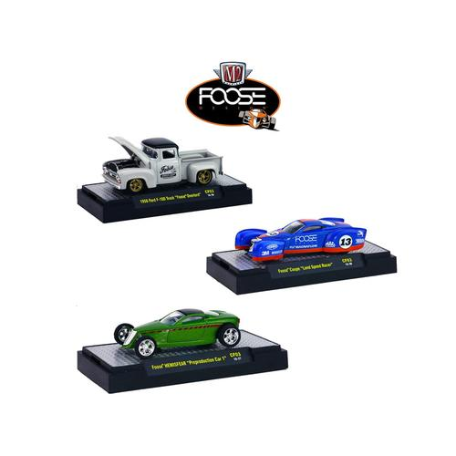 Chip Foose Release 3, 3 Cars Set WITH CASES 1/64 Diecast Model Cars by M2 Machines