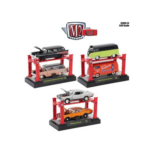 Auto Lift Series 16, 6pc Set 1/64 Diecast Model Cars by M2 Machines