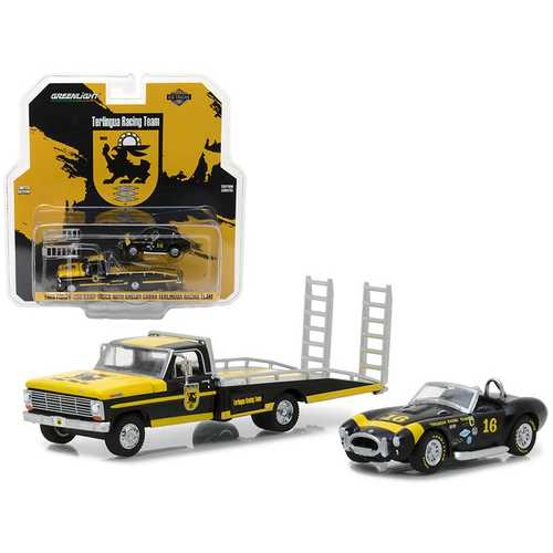 1969 Ford F-350 Ramp Truck with Shelby Cobra Terlingua Racing Team #16 HD Trucks Series 11 1/64 Diecast Models by Greenlight