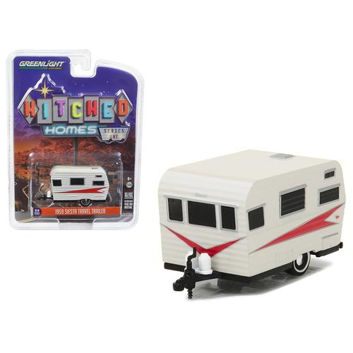 1959 Siesta Travel Trailer Silver and Red 1/64 Diecast Model by Greenlight