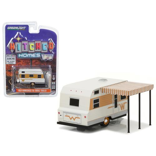 1964 Winnebago Travel Trailer 216 White and Gold 1/64 Diecast Model by Greenlight