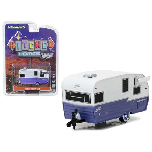 Shasta 15' Airflyte Trailer White and Purple 1/64 Diecast Model by Greenlight